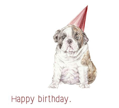 Happy Birthday Bulldog In Hat. Free Pets eCards, Greeting