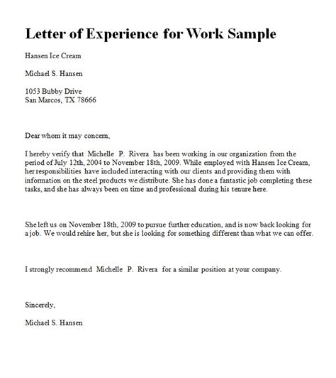 work experience covering letter work experience letter format from company cover letter