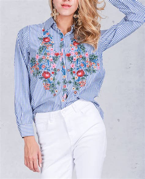 Embroidered Sleeve Shirt floral embroidered shirts sleeve striped blouse