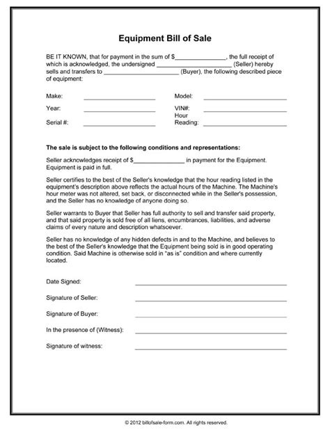 bill of sale form template schedule template free