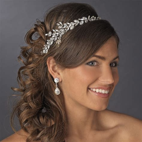 Wedding Hair Accessories Direct by Antique Silver Clear Marquise Cut Rhinestone Headpiece 17967