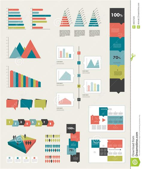 chart and diagram flat infographic collection royalty free stock image