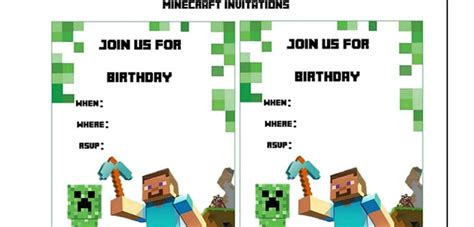 minecraft birthday invitation card template minecraft birthday invitation printable free
