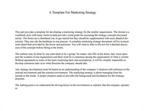 marketing strategy templates 19 sample example format