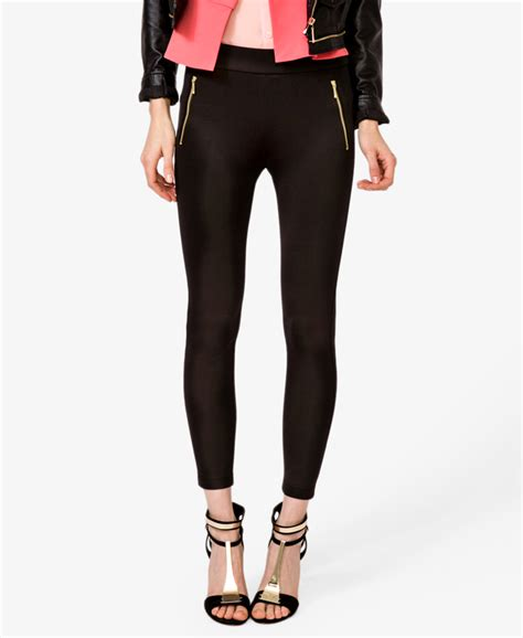 Scuba Pant Inc forever 21 scuba w zippers in black black gold lyst