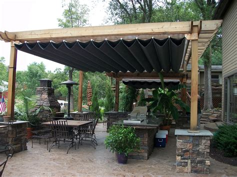 Decor Stone Chimney Design Ideas Combined With Wooden Covered Pergola Ideas