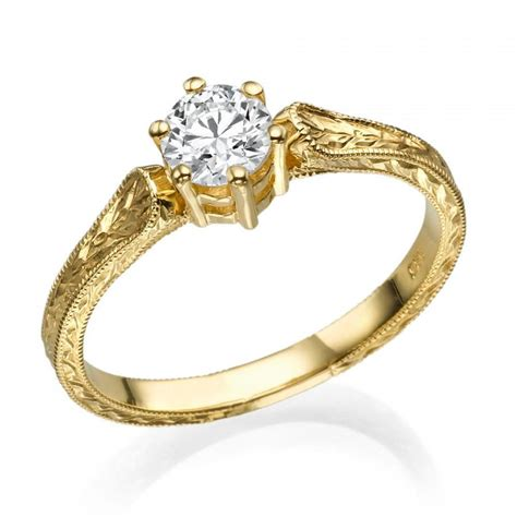 Engraved Engagement Ring Engraved Ring Do by Filigree Engagement Ring 14k Gold Ring 1 Ct