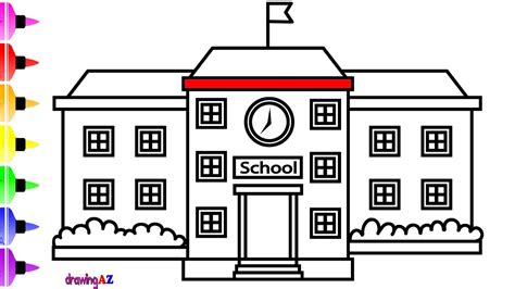 S Drawing In School by How To Draw A School For Learn Color Children S