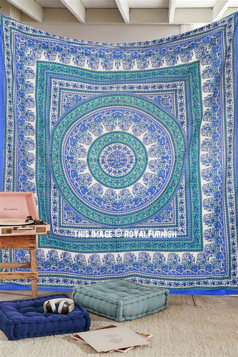 large blue paisley floral medallion circle cotton tapestry wall hanging royalfurnish