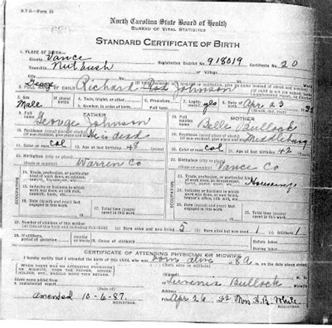 Nc Vital Records Birth Certificate Girlshopes