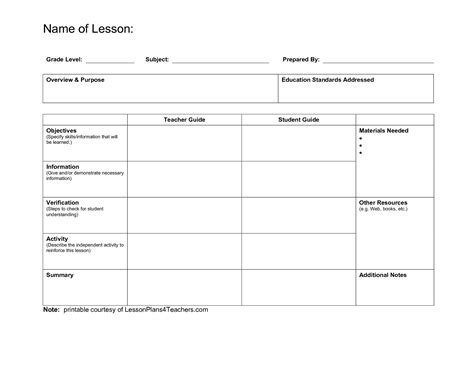 printable lesson plan template for teachers resources