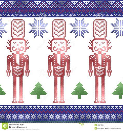 Good Decorative Nutcrackers For Christmas #6: Red-dark-blue-green-nordic-christmas-pattern-nutcracker-soldier-xmas-trees-snowflakes-stars-snow-decorative-ornaments-59079896.jpg