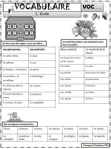 VOCABULAIRE - DOSSIER : L'école CP / CE1 / CE2 • ReCreatisse