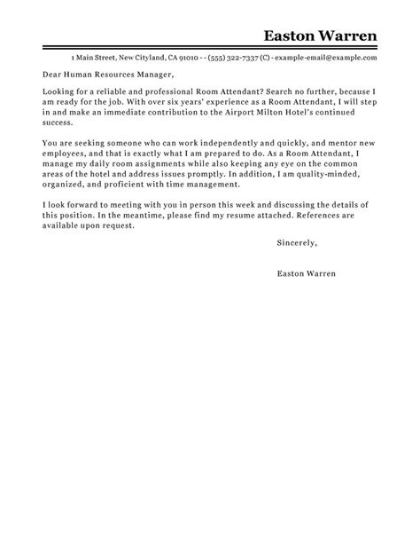 Housekeeping Room Attendant Cover Letter by Best Room Attendant Cover Letter Exles Livecareer