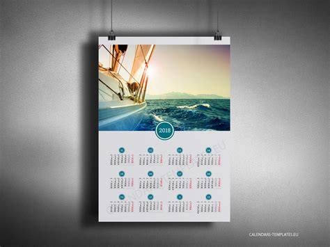 Calendar 2018 Wall Poster Big Year Calendar 2018 With Image In Pdf Format Yearly