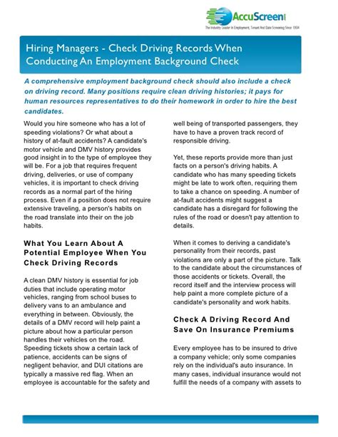 Driving Record Background Check Hiring Managers Check Driving Records When Conducting An Employment