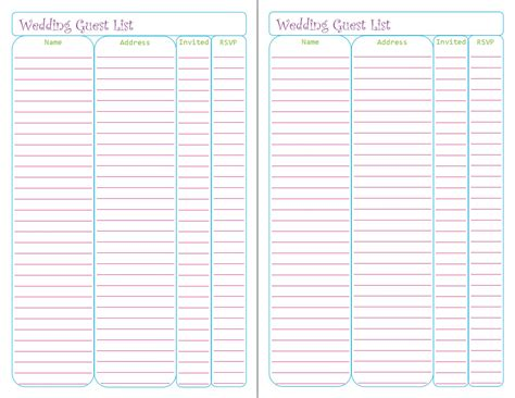 sle guest list wedding guest list printable template 28 images