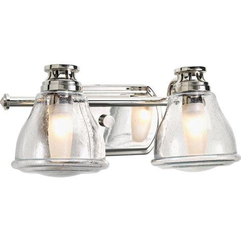 chrome vanity lighting bathroom lighting the home depot lights and ls progress lighting academy collection 2 light polished chrome bathroom vanity light p2811 15wb