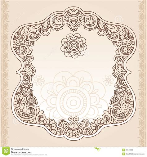 henna tattoo flower frame doodle vector design stock