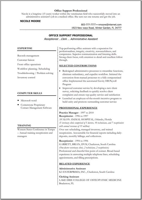 Resume Template For Office by Office Resume Templates Madinbelgrade
