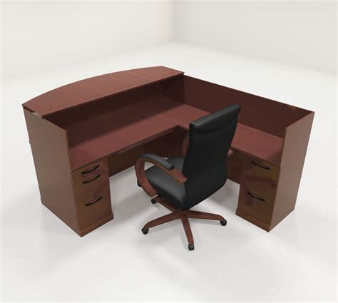 Executive Reception Desk 4pc Traditional L Shaped Executive Counter Reception Desk Set Ro Sor R3 H2o Furniture