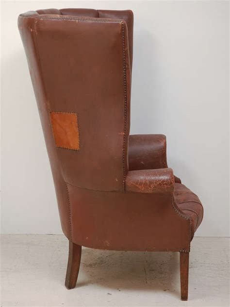 Brown Wingback Chair by 1930 S Brown Leather Wingback Chair Image 5