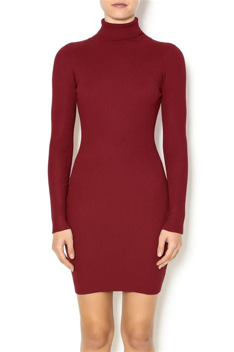 Sweater Dresses by Hera Collection Burgundy Turtleneck Sweater Dress From