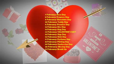 12th feb which day of week 7 feb to 21 feb days list february special days list