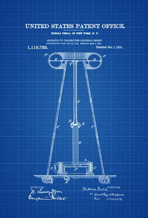 Tesla Coil Patent Tesla Electricity Transmitter Patent 1914 Patent Prints