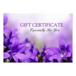 campanula flowers gift certificate template business card