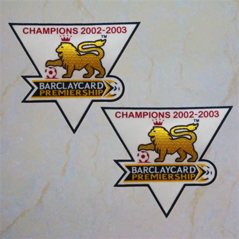 premier league chion 2002 2003 sleeve gold patch badge manunited jersey timix