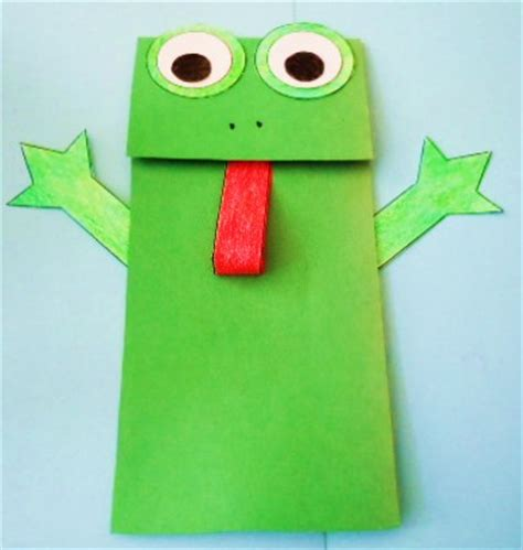 Paper Frog Craft - learning ideas grades k 8 frog paper bag puppet crafts