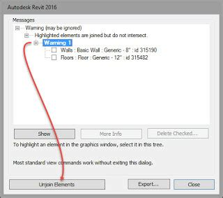 revit warnings tutorial warning message highlighted elements are joined but do
