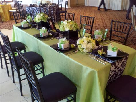 lime green table l black white damask table runner with lime green accents