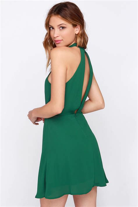 Ll Halter Veve Green pretty green dress halter dress sleeveless dress 39 00