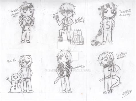 coloring pages of minecraft youtubers minecraft youtubers part 1 by rainipawz on deviantart