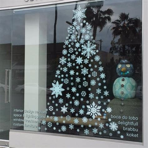 christmas tree window clings 308 store front pro pack of snowflake window clings