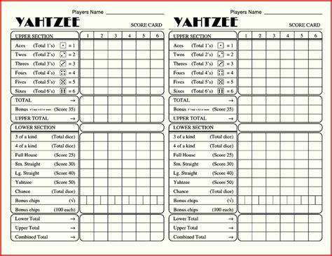 Yahtzee Score Card Template Pdf by Free Printable Yahtzee Score Sheets Card Calendar