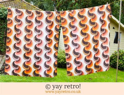 70s curtains vintage 70s orange brown curtains vintage shop retro