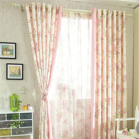 romantic pink floral poly cotton shabby chic curtains