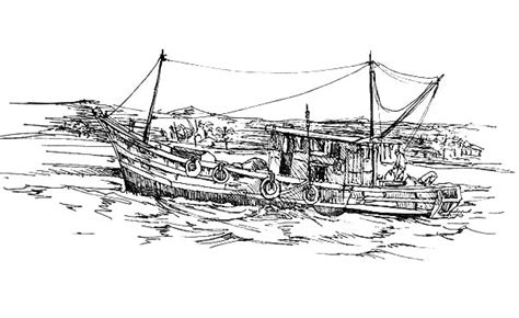 fishing boat drawing easy fast boat coloring page for kids transportation pages