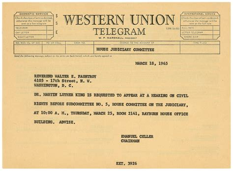 telegram to martin luther king jr on voting rights act o