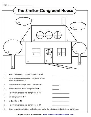 geometry worksheets : congruent and similar shapes