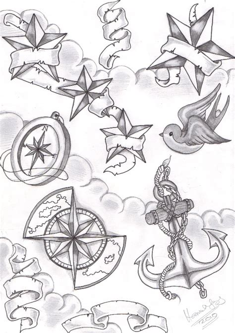 Tatto Hair Style Tattoo Designs By Edwin Aldridge Nautical Flash 2
