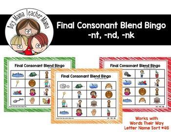 Final Consonant Blends Nt Nd Nk Bingo Game By Boy