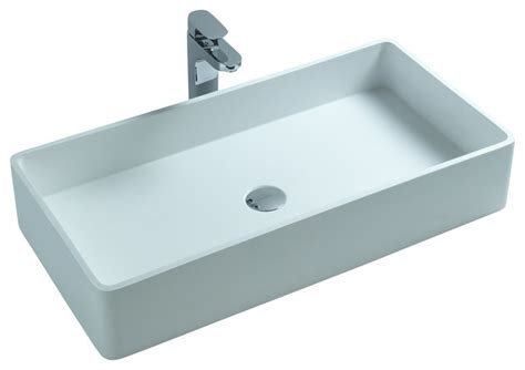 Resin Kitchen Sinks Adm White Solid Surface Resin Counter Top Sink Matte Contemporary Bathroom Sinks By
