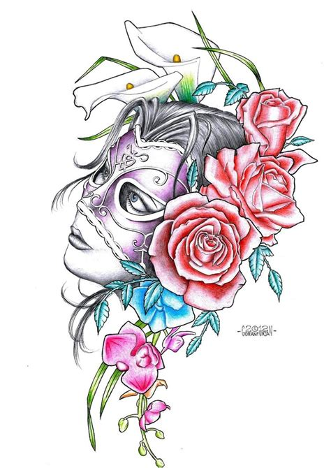 with mask tattoo flash by goranfurjan on deviantart