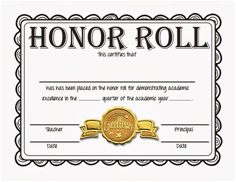 honor roll certificate template best and various