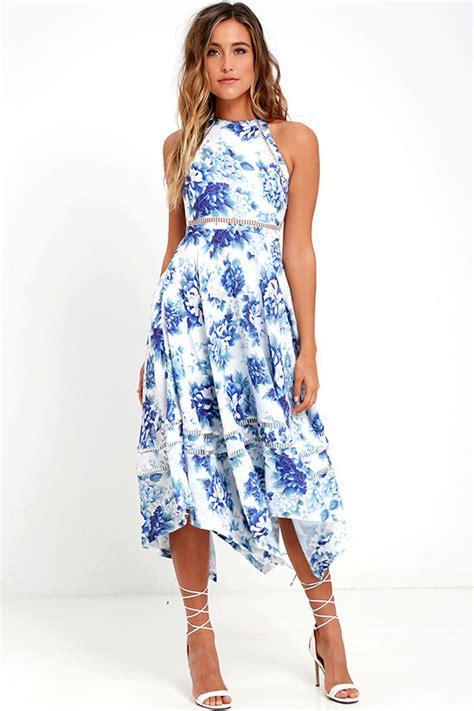 Blue And Flower Flowers S M L Dress 43431 elliatt flourish dress blue floral print dress print midi dress 185 00