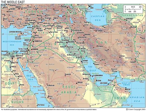 middle east map features general maps